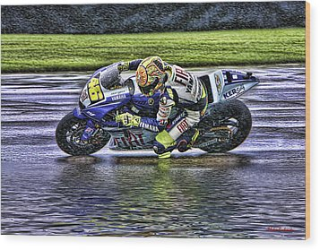 Valentino Rossi At Indy Wood Print