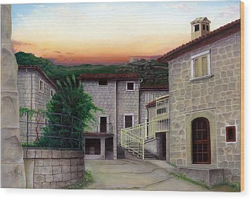 Wood Print featuring the painting Vallecchia De Monte Calvo by Albert Puskaric