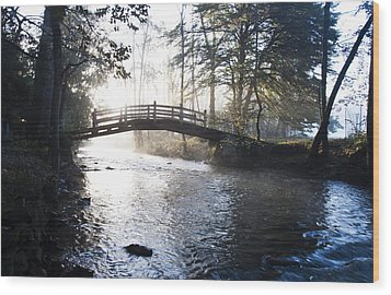Valley Creek Bow Bridge At Valley Forge Wood Print by Bill Cannon