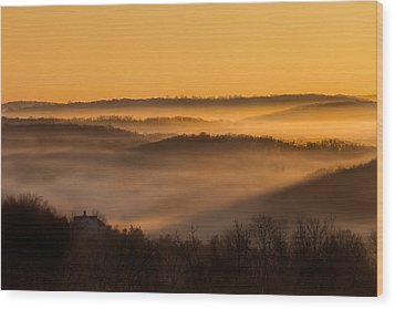 Valley Fog Wood Print by Bill Wakeley