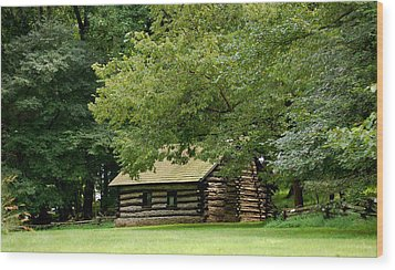 Valley Forge Cabin Wood Print by Sherlyn Morefield Gregg