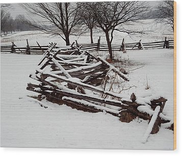Valley Forge Snow Wood Print by Michael Porchik
