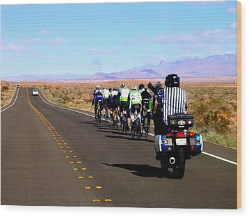 Valley Of Fire Bike Race Wood Print by Cindy Croal