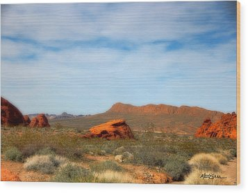 Valley Of Fire Wood Print by Marti Green