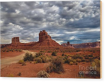 Valley Of The Gods Stormy Clouds Wood Print by Robert Bales