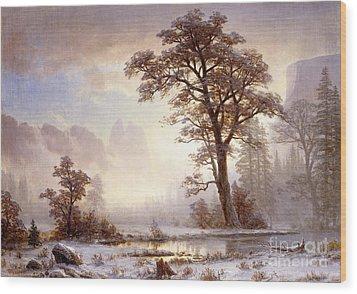 Valley Of The Yosemite Snow Fall Wood Print by Albert Bierstadt