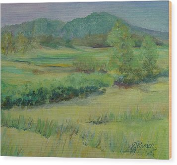 Valley Ranch Rural Western Landscape Painting Oregon Art  Wood Print