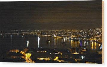 Valparaiso Harbor At Night Wood Print by Kurt Van Wagner