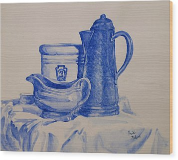 Value Study In Blue Wood Print by Heidi E  Nelson