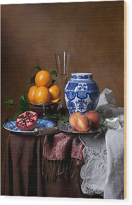 Van Beijeren - Banquet With Chinese Porcelain And Fruits Wood Print by Levin Rodriguez
