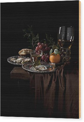 Van Beijeren -still Life With Roemer-silverware And Oysters Wood Print by Levin Rodriguez
