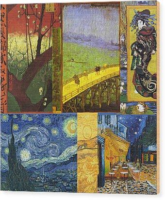Van Gogh Collage Wood Print by Philip Ralley