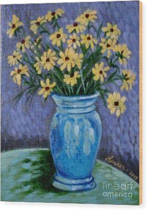 Van Gogh-ish Flowers In A Vase Wood Print