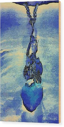 Van Gogh Starry Night Style Heart Wood Print by Lorri Crossno