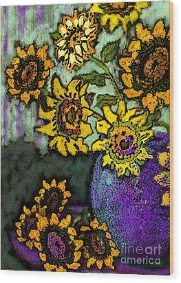 Van Gogh Sunflowers Cover Wood Print by Carol Jacobs
