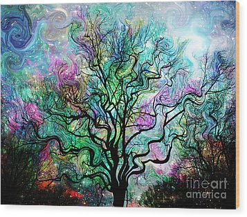 Van Gogh's Aurora Borealis Wood Print by Barbara Chichester