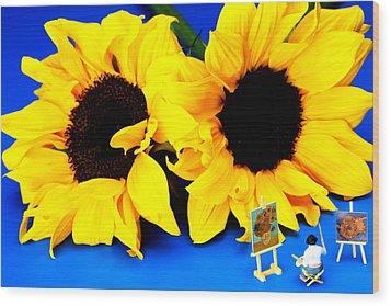 Van Gogh's Sunflower Miniature Art Wood Print by Paul Ge