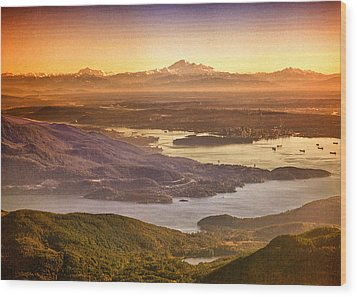 Vancouver And Mt Baker Aerial View Wood Print