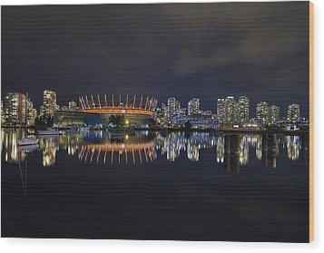 Vancouver Bc Canada City Skyline By False Creek At Night Wood Print by David Gn