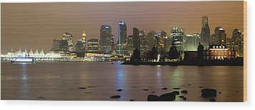Vancouver Bc City Skyline At Night Wood Print by David Gn