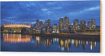 Vancouver Bc City Skyline With Bc Place At Blue Hour Wood Print by David Gn