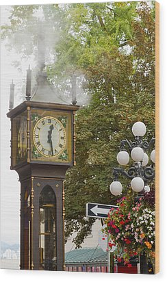 Wood Print featuring the photograph Vancouver Bc Historic Gastown Steam Clock by JPLDesigns