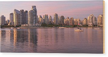 Wood Print featuring the photograph Vancouver Bc Skyline Along False Creek At Dusk by JPLDesigns