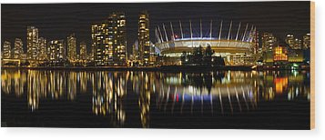 Wood Print featuring the photograph Vancouver Bc Skyline Along False Creek At Night by JPLDesigns