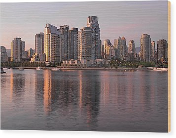Wood Print featuring the photograph Vancouver Bc Waterfront Condominiums by JPLDesigns
