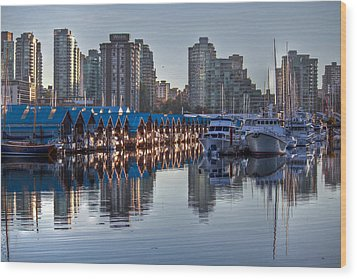 Vancouver Boat Reflections Wood Print by Eti Reid