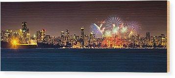 Vancouver Celebration Of Light Fireworks 2013 - Day 2 Wood Print by Alexis Birkill