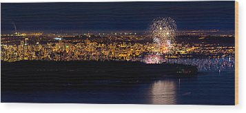 Vancouver Celebration Of Light Fireworks 2013 - Day 3 Wood Print by Alexis Birkill