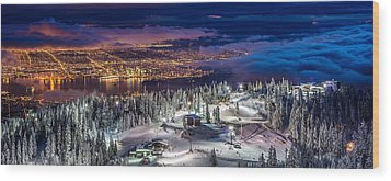 Vancouver City Panorama From Grouse Mountain  Wood Print by Pierre Leclerc Photography