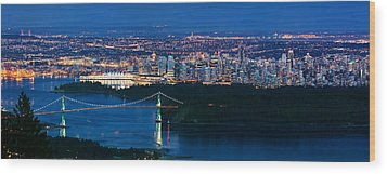 Vancouver From Cypress Mountain Wood Print by Alexis Birkill
