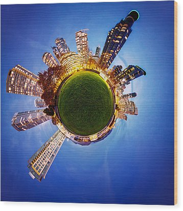 Vancouver Little Planet Wood Print by Alexis Birkill