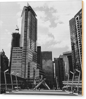 Vancouver Olympic Cauldron- Black And White Photography Wood Print by Linda Woods
