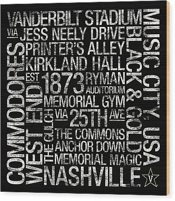 Vanderbilt College Colors Subway Art Wood Print by Replay Photos