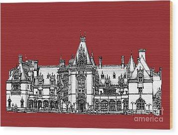 Vanderbilt's Biltmore Estate In Red Wood Print by Adendorff Design