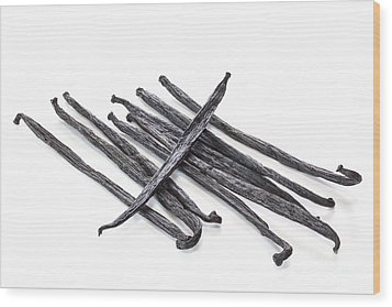 Vanilla Beans On White Background Wood Print by Colin and Linda McKie