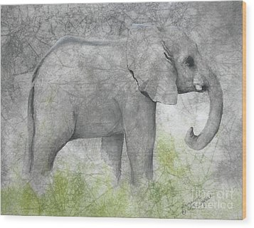 Vanishing Thunder Series-baby Elephant II  Wood Print by Suzanne Schaefer