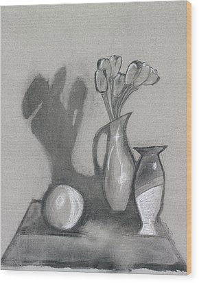 Wood Print featuring the mixed media Vanishing Vase by Artists With Autism Inc