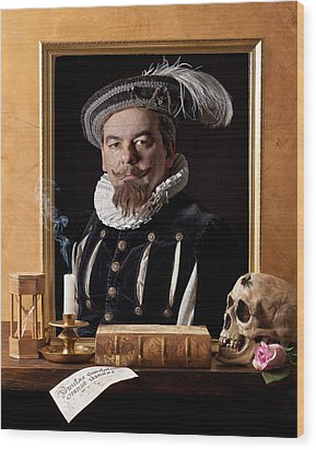 Vanitas With Painting-skull-hourglass Wood Print by Levin Rodriguez