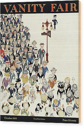 Vanity Fair Cover Featuring A Crowd Wood Print by John Held Jr