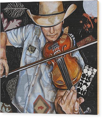 Vaquero De The Fiddle Wood Print