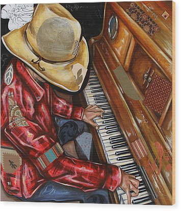 Vaquero De The Piano Wood Print