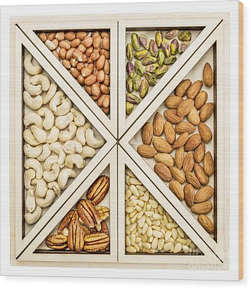 Variety Of Nuts Abstract Wood Print