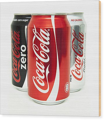 Various Coke Cola Cans Wood Print