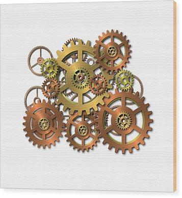 Various Gears Wood Print by Michal Boubin