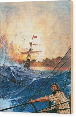 Vasco Da Gama's Ships Rounding The Cape Wood Print by English School