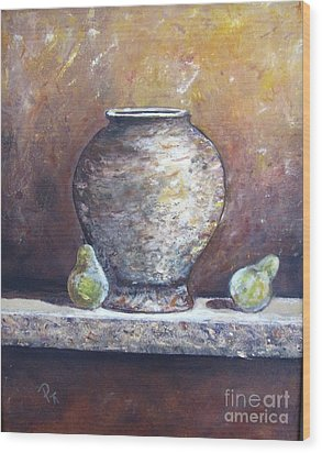 Vase And Pears Wood Print